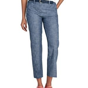 Women's Mid Rise Chambray Crop Pants